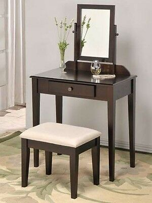 Espresso, White, or Black Vanity Makeup set with Stool & Mirror