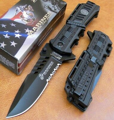 MA1000B-USMC Marines Spring Assisted Tactical Rescue P/Knife