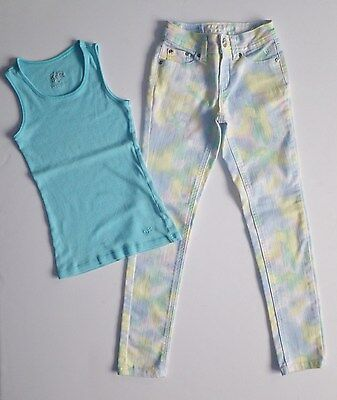JUSTICE GIRLS SKINNY JEANS TANK SHIRT OUTFIT (B26) SZ 8 S Slim