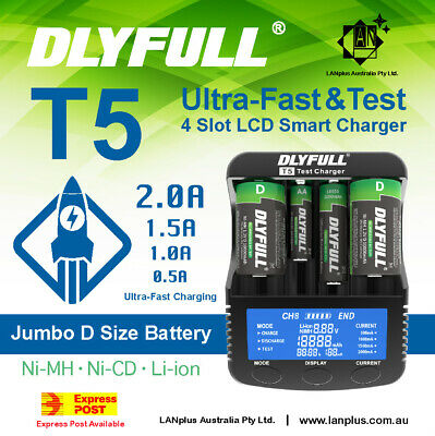 4 slot Digital Smart Battery Charger Tester for 26650 18650 D size Real Capacity