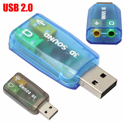 USB 2.0 to 3D Audio Sound Card Adapter Virtual 5.1 3.5mm Jack Mic Headphones