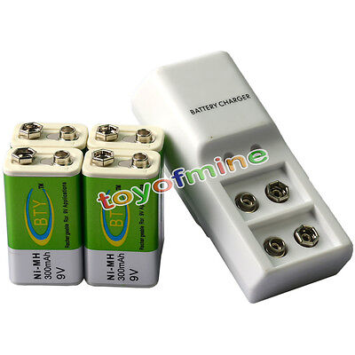 4x 9V BTY Green 300mAh Ni-Mh Rechargeable Battery And Dual Batteries Charger