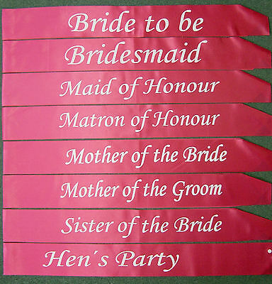 Hot Pink - Hens Night Wedding Bridal Bride to Be Sash Bride Bridesmaid Sashes
