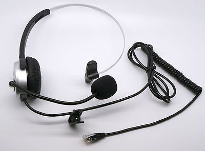 Over Head Call Center Telephone Headset Adjustable Boom Mic 4-pin RJ9 SILVER