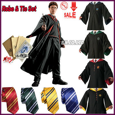 Gryffindor/Slytherin/Hufflepuff/Ravenclaw Robe/Tie/Scarf/Wand for Kids Adult AU