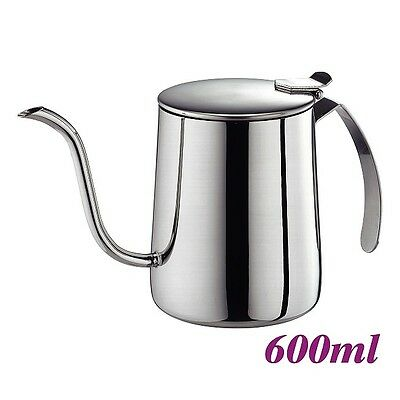New Cafe de Tiamo 600ml Stainless Steel Pour Over Coffee Kettle w Lid (HA1618)