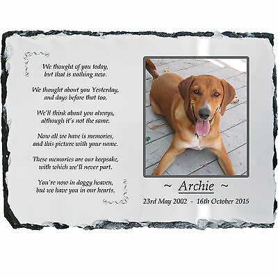 Pet Dog Photo Memorial Slate Plaque -Beautiful Poem +YOUR Picture -LARGE 19x29cm