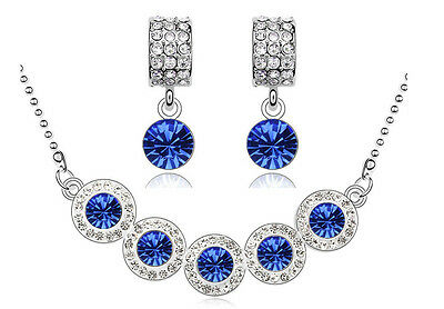 Dark Blue & Silver Crystal Balls Jewellery Set Drop Earrings & Necklace S683