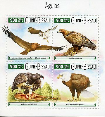 Guinea-Bissau 2015 MNH Eagles 4v M/S Birds of Prey águias