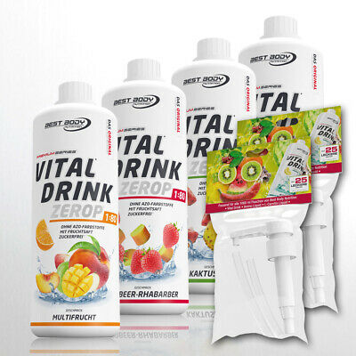 9,97€/L. Best Body Nutrition Low Carb Vital Drink Sirup 4er Set + 2 Dosierpumpen
