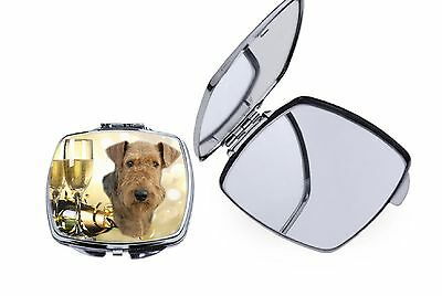Airedale Terrier Dog Square Curved Edge Metal Compact Mirror MRAIREDALE-1