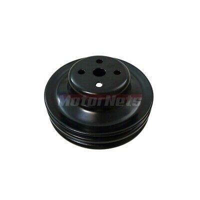 1965-66 SB Ford 289 302 Black Steel Double 2 V-belt Groove Water Pump Pulley