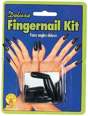 Black Fingernails Sculpted Nails Witch Goth Dress Up Halloween Costume Accessory