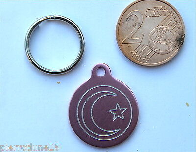 MEDAILLE GRAVEE RONDE ROSE LUNE ORIENTALE CHATON CHAT collier medalla cane katze