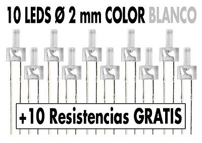 10 x Led Ø 2 mm difusor largo color BLANCO + resistencias + tutorial. NUEVOS !!