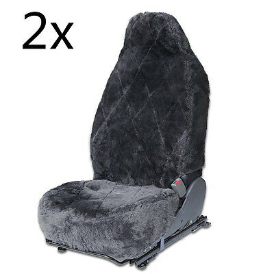 2x Genuine Sheepskin Front Seat Car Seat Cover Fits Universal Bucket Seats