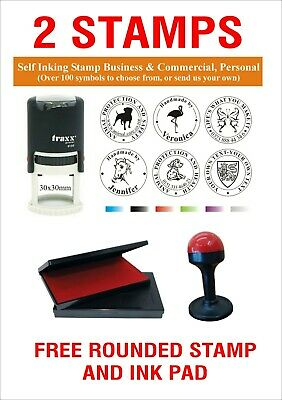 TRAXX Custom Made Self Inking Rubber Stamp 30x30mm ROUND Logo Business 9130 Colo