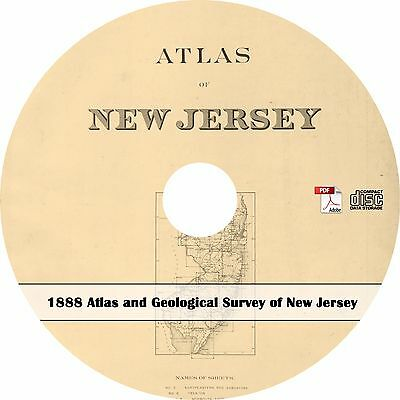1888 Atlas and Geological Survey of New Jersey - NJ Maps - Book on CD