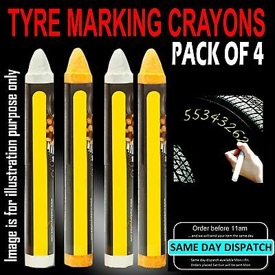 Car Tyre Marking Crayons / Chalks (2 x Yellow & 2 x White) Pack of 4
