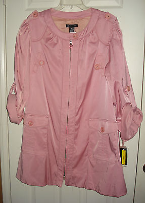 c95909232d2 INC International Concepts  129 Pink Bubble Hem Lined Trench Coat Size XL  NWT