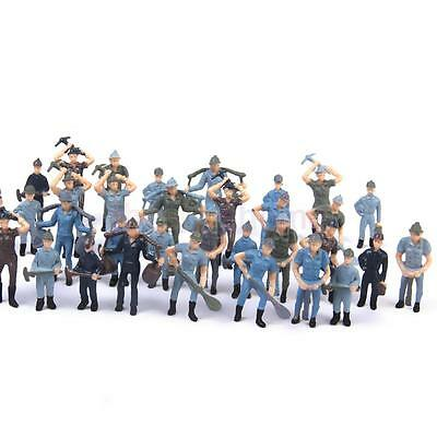 50pcs Painted Model Train Track Railroad Worker People Figures O Scale 1:42