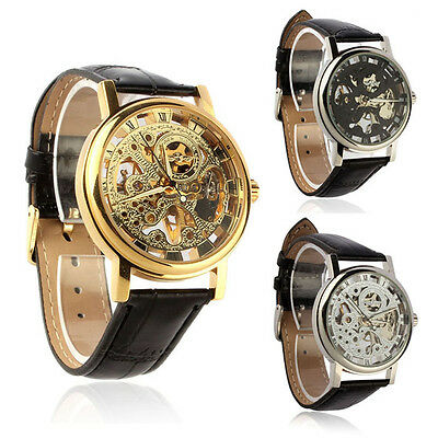 Mens Watches Fashion Mechanical Skeleton Hand Wind Up Leather Strap Wrist watch