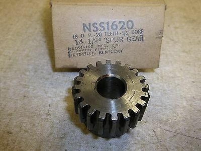 """NEW Browning NSS1620 Spur Gear 16D.P 20 Teeth 1/2"""" Bore 14.5 degree *FREE SHIP*"""