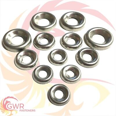 No.6,8,10,12 A2 Stainless Steel Cup Washers To Fit A2 Countersunk Screws/Bolts