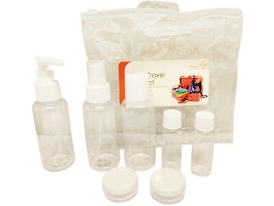 8 Piece Travel Holiday Liquid Bottles Clear Cosmetic Airport 100ml Containers
