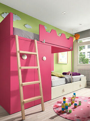 traum kinderzimmer mit etagenbett kleiderschrank stauraum treppe 35 dekore eur. Black Bedroom Furniture Sets. Home Design Ideas