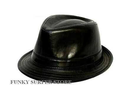 Mens Womens Black Leather Look Trilby Hats Gangster Fedora Summer Hat Caps