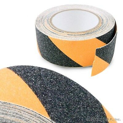"2"" x 30' Black Yellow Safety Non Skid Tape Anti Slip Tape Sticker Grip Safe Grit"