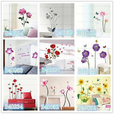 Flowers Butterfly Home Room Decor Removable Wall Stickers Decal Decoration