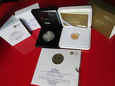 2015 The Royal Birth Gold Sovereign + £5 Fine Silver Proof Coin + £5 BU Coin
