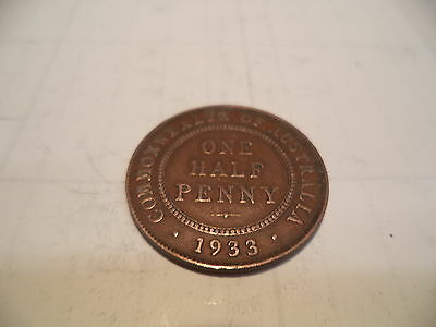 1933 KGV Half Penny Fine/Very Fine  RARE VERY OLD COLLECTION GREAT INVESTMENT