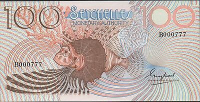 Seychelles 100 Rupees ND.1980 P 27 Prefix B Uncirculated Banknote Low solid #777