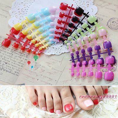 24 pcs Colorful Candy Toenails Full Cover Acrylic False Toe Tips 20 Color
