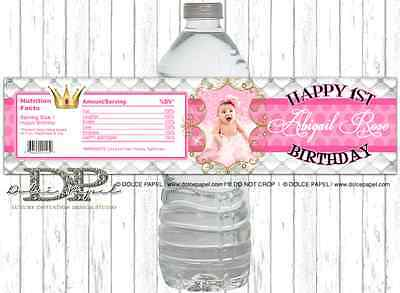 10 Custom Photo Pretty Little Princess Pink Birthday Party WATER BOTTLE LABELS