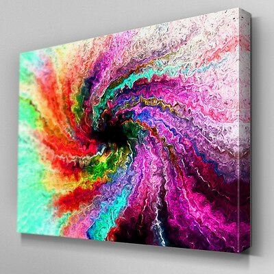 AB184 Rainbow Spray Swirl Canvas Wall Art Ready to Hang Picture Print