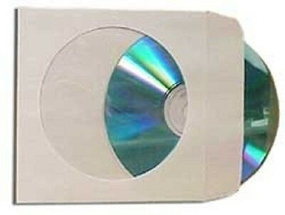2000 pcs White CD DVD Paper Sleeves Envelopes with Flap and Clear Window