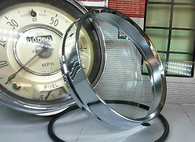 Chrome Bezel Trim & Glass for Smiths Centre Speedo Austin Morris BMC Mini Cooper