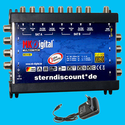 MK-Digital 9-8 Multischalter 9/8 Sat Verteiler Verstärker Full HDTV HD + Sky TV
