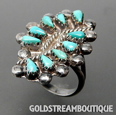 Old Pawn Zuni 925 Silver Petit Point Turquoise Bypass Wide Cluster Ring, 5.25
