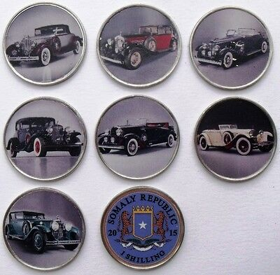 Somalia Set Of 7 Different 1 Shilling 2015 Classic Historic Cars Coloured Coins