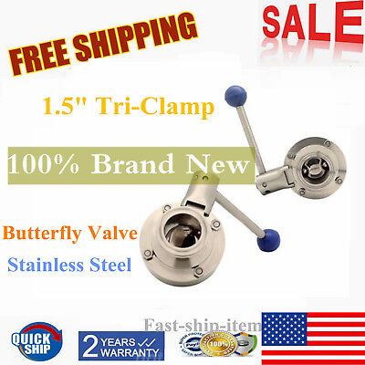 """1.5"""" 304 Sanitary Stainless Steel Butterfly Valve Tri-Clamp Sealing Pull Handle"""