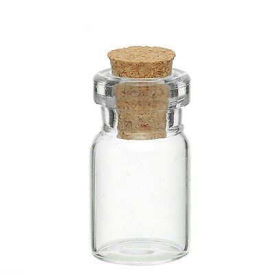 Tiny Glass Bottle with Cork - Vial -   Miniature -    24mm x 10mm (Qty x 10)