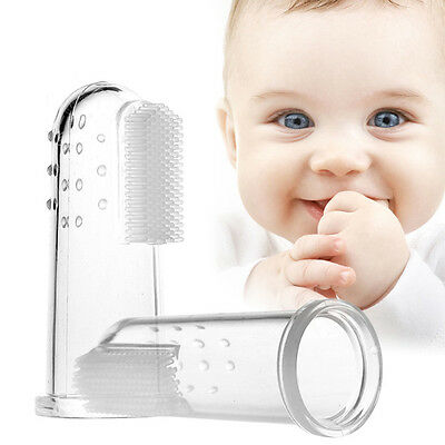 Baby Finger Soft Silicone Toothbrush Teether Teeth Infant Toodler Gum Massager