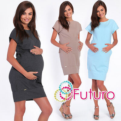 Maternity Shift Dress Short Sleeve Crew Neck Pregnancy Tunic Sizes 8-14 FA384