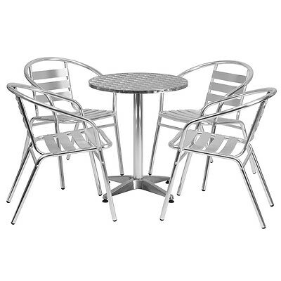 23.5'' Round Aluminum Indoor-Outdoor Restaurant Table with 4 Slat Back Chairs