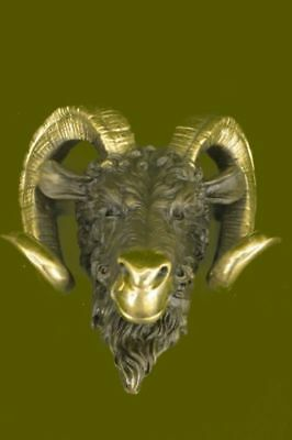 Signed Original Mascot Ram Head Bronze Sculpture Marble Base Statue Figurine Art